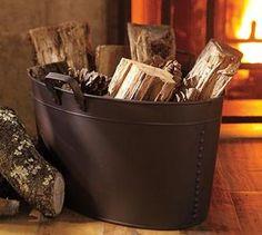 Pottery Barn rustic log holder