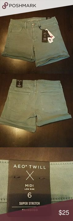American Eagle Midi Twill Shorts NWT. Light/ faded teal color. Low rise with a lot of stretch.   Inseam is 5 inches,  can be cuffed,  or worn regular. American Eagle Shorts