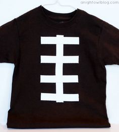 DIY No-Sew Football Tee Tutorial. This could also be made onto a onesie or add a bow to make it for a girl