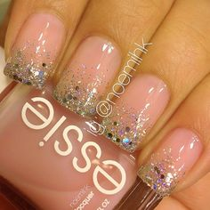 Sugar Daddy by Essie, Chunky Silver by Santee, and Disco  Glitter Top Coat by Claire's.