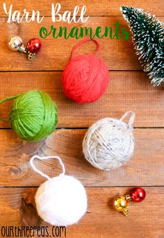 Christmas is almost here, but there is still time to make these oh so easy (and cute!) Yarn Ball Ornaments! | Our Three Peas