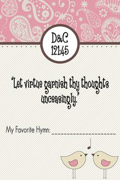 Pretty Printables For You: Young Women Handout Manual 1 Lesson #34 Worthy Thoughts