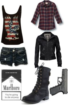 "I don't often pin entire outfits, but when I do, it's zombie related ;P - ""The Walking Dead Outfit No.9"" by indierosalie ❤ liked on Polyvore"