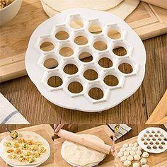 to do 19 dumplings!New Dumpling Mold Maker Kitchen Dough Press Ravioli DIY 19 Holes Dumplings Maker Mold Cooking Tools How To Make Dumplings, Homemade Dumplings, Making Dumplings, Sweet Dumplings, Ravioli, Diy Kitchen, Kitchen Dining, Design Kitchen, Smart Kitchen