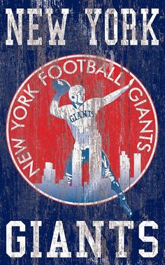 "New York Giants Distressed Logo 11""x19"" Wall Art"