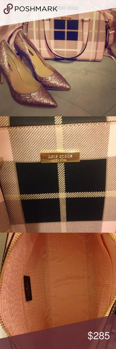 """NWT Kate Spade Purse Beautiful Kate Spade """"Small Felix--Newbury Lane Printed Plaid Pink"""". Pink, tan, cream and black plaid with gold hardware. Detachable shoulder strap. New with tags. Adorable purse, perfect for a Christmas present! No trades please. kate spade Bags"""
