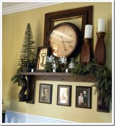 Gail's Decorative Touch: A Wintery Mantel Shelf- could be changed with every season/holiday. Maybe I can still have my mantel ;)