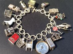 Vintage Charm Bracelet Collection - Articulated Movers & Shakers Silver & Enamel Charm Bracelet