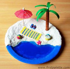 new Ideas craft beach kids paper plates Kids Crafts, Beach Crafts For Kids, Ocean Crafts, Beach Kids, Summer Kids, Preschool Crafts, Art For Kids, Craft Projects, Arts And Crafts