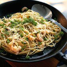 Spagetti med räkor och vitlök