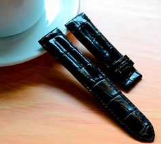 22mm Double Ridged Style, Genuine Black Alligator Crocodile Leather by SobekAlligator