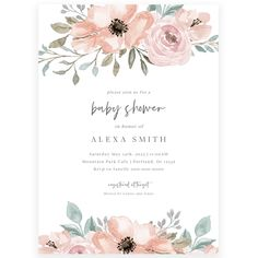 Floral Girl Baby Shower Invitation | Forever Your Prints