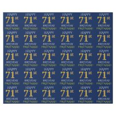 "Blue Faux Gold ""HAPPY 71st BIRTHDAY"" Wrapping Paper - party gifts gift ideas diy customize"