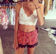lace summer top  bandanna print shorts  summer fashion