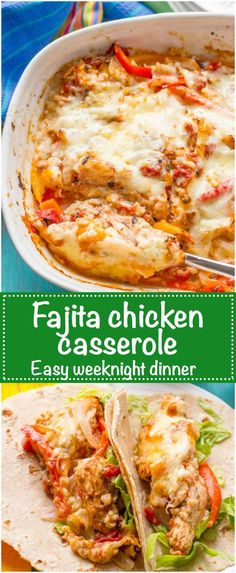 Healthy chicken fajita casserole with brown rice and a cheesy topping is an easy recipe that's great for a hands-off weeknight family dinner | www.familyfoodonthetable.com