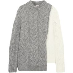 Moncler Two-tone cable-knit sweater ($1,195) via Polyvore featuring tops, sweaters, grey, chunky cable knit sweater, two tone sweater, asymmetrical hem top, moncler top and grey top