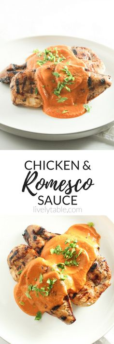 Chicken with Romesco Sauce is a healthy and flavorful dinner that you'll want to add to your weekly menu! The romesco sauce is bursting with flavor and goes perfectly with everything from fish to vegetables. (gluten-free, dairy-free) | via livelytable.com