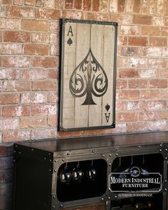 Ace of Spades Wall Art Casino Decor Metal Poker Card with Weathered Wood Game Room Industrial Decor Mancave Modern Industrial Furniture, Vintage Industrial Decor, Industrial Metal, Vintage Wood, Man Cave Wall Art, Wood Wall Art, Diy Wood Projects, Woodworking Projects, Wood Games
