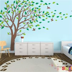 Large Size Living Room Tree Wall Stickers Decorative Sofa Bed Headboard Wall Decals Animal Home Wallpaper Mural Stickers #Affiliate