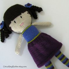 Hand Knitted Stuffed Doll  Toy  Plush by cotuitbayknitter.etsy.com