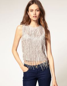 Tassel Embellished Fringe Front Top - ON SALE: $34.02