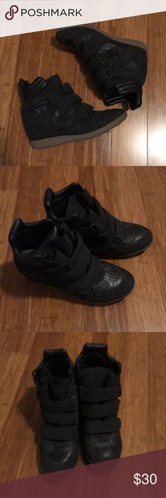 """Black Sneaker Wedges Black sneaker wedges size 8.5"""" Only worn a few times JustFab Shoes Sneakers"""