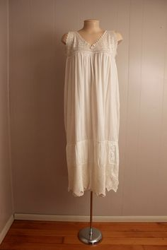 white vintage nightgown -Make top from stretch lace for easy pull-down for nursing