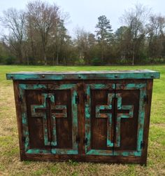 Handmade Rustic Cross Door Buffet or Entry Table in Turquoise and Dark Stain www.gugonline.com Price:$499.95