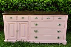 painted furniture, painted dresser, pink, white, black and white stripes, little girls room, stained yop, stained dresser, peekaboo drawers,shabby chic, high gloss, glossy, silver hardware,DIY, before and after, makeover, furniture restoration, restored furniture, antique store find, goodwill find, modern, cute, soft pink, #shabbychicfurniturebeforeandafter