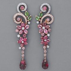 John Hardy Jewelry~Laurays.Net  These Art Nouveau earrings with pink and green tourmalines and diamonds are daintily crafted in 18k rose gold with platinum accents.