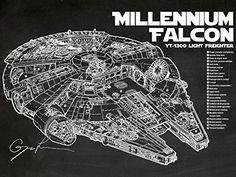 Millennium Falcon Blueprint, Millenium Falcon, Imagine Nation, Fantasy Star, Artwork Prints, Poster Prints, Silk Screen Printing, Patent Prints, White Ink