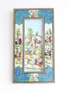 Miniature Hand Painted Hunting Persian Art with Hand craft Khatam Wooden Frame