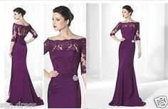 Purple Lace Half Sleeves Mother Of The Bride Dresses Mermaid Evening Party Gowns