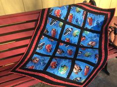 Modern Baby Quilt, Disney Cars Movie, Crib or Stroller Quilt, Photo Prop Quilt, 43x33 inches, Baby Shower Gift, handmade by SweeterDreamsandMore on Etsy