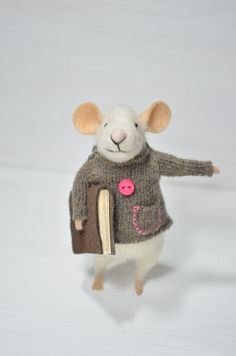 Little Reader Mouse - unique - needle felted ornament animal, felting dreams made to order. $68.00, via Etsy.