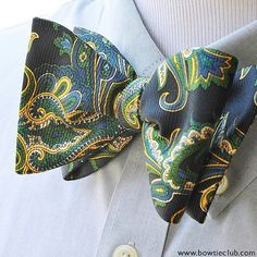 """127 Likes, 8 Comments - www.bowtieclub.com (@thebowtieclub) on Instagram: """"The wear-everywhere bow tie in a fresh navy, green and yellow paisley print, great addition to any…"""""""