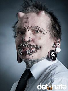 Pierced Guy In Tats Abusing Himself