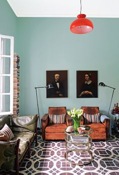 love the tile floor + beautifully lived in leather.    #livingroom