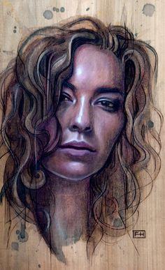Fay Helfer - Pyrography Art - Sita  http://fayhelfer.com/  Article : www.peachy-keen.fr/fay-helfer-pyrography-art/