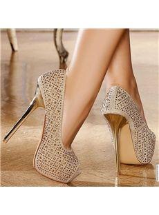 Delicate Champaign Golden Stiletto Heel Queen Closed Toe Pumps: tidestore.com