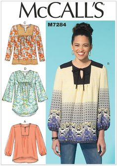 Misses Tops McCalls Sewing Pattern 7284.