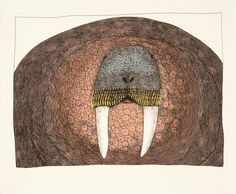 Ningeokuluk Teevee is currently one of my favourite Inuit visual artists. She was born May 1963 in Cape Dorset, Nunavut. This drawing, Imposing Walrus is currently on the cover of Inuit … Inuit Kunst, Arte Inuit, Inuit Art, Native Art, Native American Art, Canadian Art, Aboriginal Art, Tribal Art, Sculpture