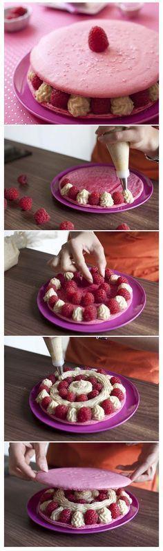 Gros macarons aux framboises et crème chiboust - DIY - Recettes de cuisine