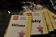 """Love these """"ID"""" tags for the kids… will help me remember all their names during the party… will label them """"Master Builder"""" and use Emmet & Wyldstyle instead of the generic lego figure."""