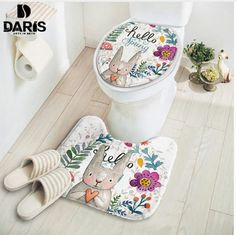 Carpet and cover on the lid for the toilet with a rabbit | Коврик и чехол на крышку для туалета с зайчиком