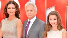 """...MICHAEL DOUGLAS & WIFE CATHERINE ZETA-JONES WITH DAUGHTER CARYS ZETA DOUGLAS ON 8TH JULY 2015. THE DOUGLAS FAMILY WAS IN LONDON, ENGLAND, FOR THE EUROPEAN PREMIER OF MARVEL'S """"THE ANT MAN"""" AT THE ODEON LEICESTER SQUARE, LONDON."""