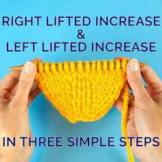 Right Lifted Increase and Left Lifted Increase in Three Simple Steps Simple Way to Increase Stitches Without Making a Hole Knitting , lace processing is probably the most beautiful hobbies . Knitting Increase, Knitting Help, Knitting Stiches, Knitting Videos, Easy Knitting, Baby Knitting Patterns, Knitting Socks, Knitting Projects, Crochet Stitches
