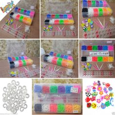 2400 Colourful Rainbow Rubber Loom Bands Bracelet Making Kit Set With S-Clips