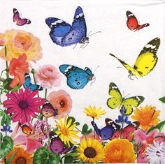 4 Single Lunch Party Paper Napkins for Decoupage Decopatch Craft Sommer s Day