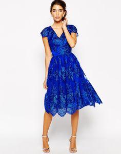 Chi Chi London | Chi Chi London Wrap Front Full Midi Prom Dress In Premium Metallic Lace at ASOS